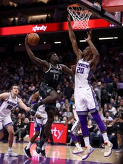 Rookie guard Khyri Thomas scored eight points and had two steals while playing 16 minutes in the Pistons' 112-102 loss to the Sacramento Kings last Thursday.