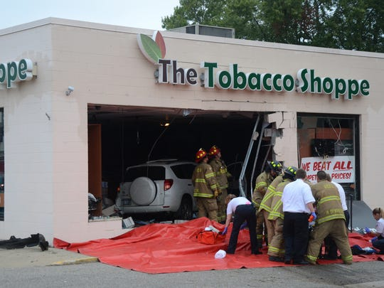This 2007 Toyota Rav4 crashed into The Tobacco Shoppe on Wednesday morning. The driver, Trevor P. Long, was reported in critical condition.