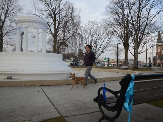 Gerica Lee walks her dog Simba near some of the ribbons placed at the circle in Marshall for David Newman, injured in an accident Friday.