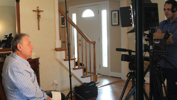 Michael Kovalcheck prepares for his on camera interview.