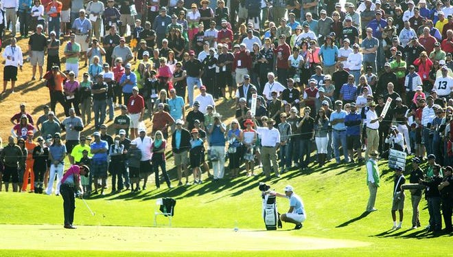Bubba Watson tees off on the 7th hole during the final round of the Waste Management Phoenix Open at TPC Scottsdale.
