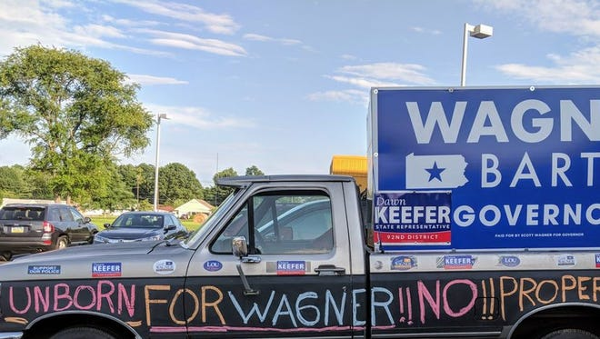 A truck parked outside a town hall for Scott Wagner in Cumberland County is seen here.
