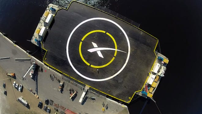 "The ""autonomous spaceport drone ship"" SpaceX designed for attempts too land and recover Falcon 9 rocket boosters at sea."