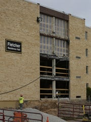 Construction continues on a couple of projects at UW-Oshkosh.  Reeve Union is getting a new front entrance and offices, Fletcher Hall is getting a new entrance as well as upgrades to housing unit within the residence hall, November 14, 2016.