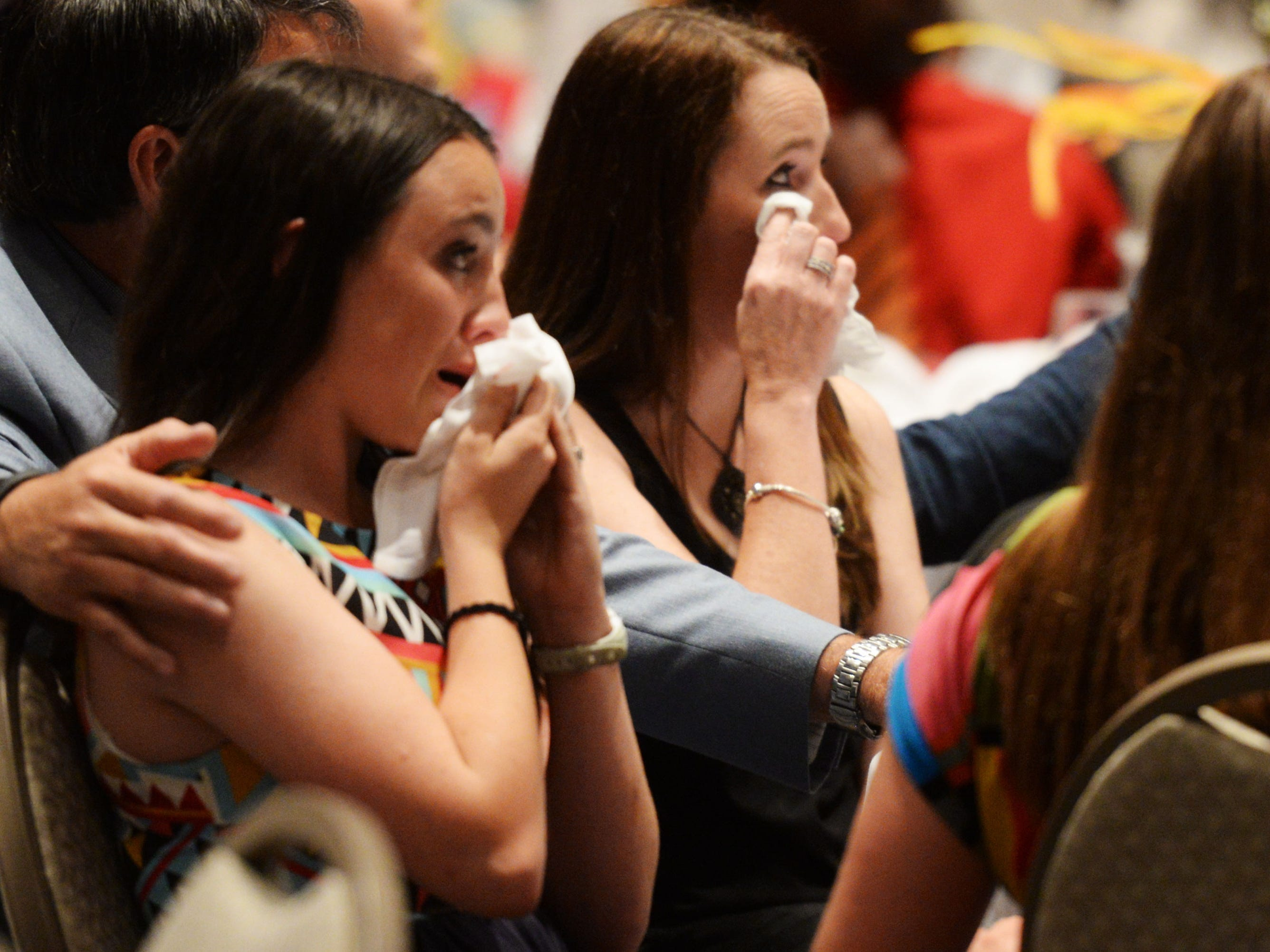 Coach Richard Lary's wife Becky Lary and their daughter Ally Lary shed a tear when their father was remembered during The Times' inaugural Best of Northwest Louisiana Preps banquet Tuesday evening at the Shreveport Convention Center.