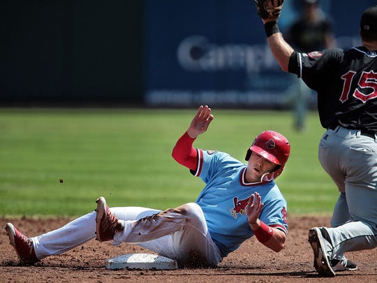 El Paso Second Baseman Dusty Coleman tags out Aledmys Diaz during the Redbirds game against the Chihuahuas at Autozone park Thursday afternoon. A walk-off 2-run homer in the bottom of the 11th inning delivered Memphis a 2-0 win over El Paso in Game 2 of the Pacific Coast League championship series.