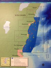 A map showing the protection area of the marine sanctuary Wednesday March 15, 2017 at UW-Sheboygan. The meeting is one of several that are taking place this week as part of the lead-up to potentially putting up to 1,260 square miles of Lake Michigan under federal protections aimed largely at preserving historic shipwrecks.