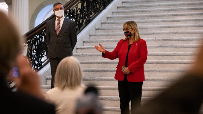 """Senate President Karen Spilka, D-Ashland, shown earlier this year at the State House, told Holliston officials this week that another interim state budget is """"very possible,"""" with the Legislature inclined to wait a little longer to see if Congress will deliver another stimulus package with aid for states and municipalities."""