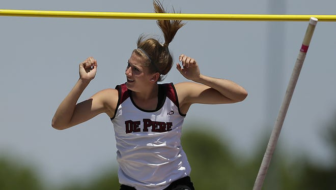 De Pere senior Kylie Swiekatowski clears the bar to win the Division 1 pole vault during the WIAA state track and field meet at Veterans Memorial Field Sports Complex in La Crosse on June 3.