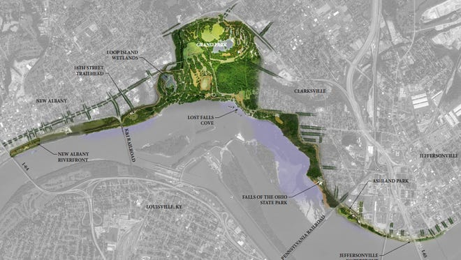 The refreshed vision for the Ohio River Greenway includes a new large park in the center and enhanced access and features to the waterfront between New Albany and Jeffersonville.