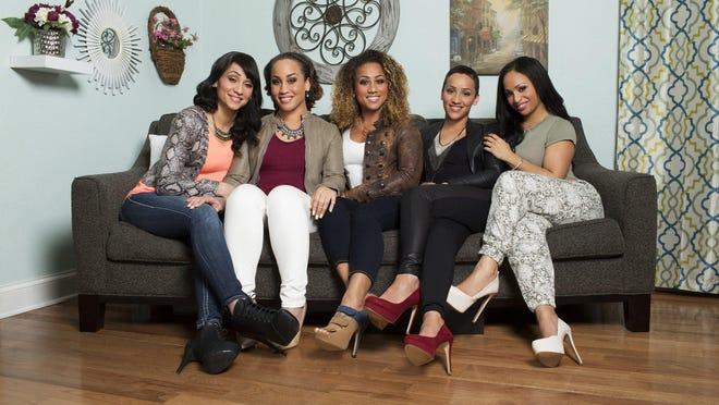 "From left: Erika, Meagan, Nikki, Kortnee and Jenni, stars of Oxygen's ""It Takes a Sister."""