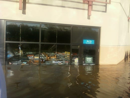 Flood waters swamp Barnes & Noble at Opry Mills.