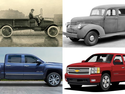 "Clockwise from upper left, a 1918 - 1939 ""Early Trucks"","