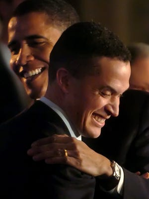 February 20, 2006 - Sen. Barack Obama, D-Ill., back, embraces Congressman Harold Ford, Jr., at a campaign rally to endorse Ford's run to become a U.S. Senator on Monday at the University of Memphis Holiday Inn.