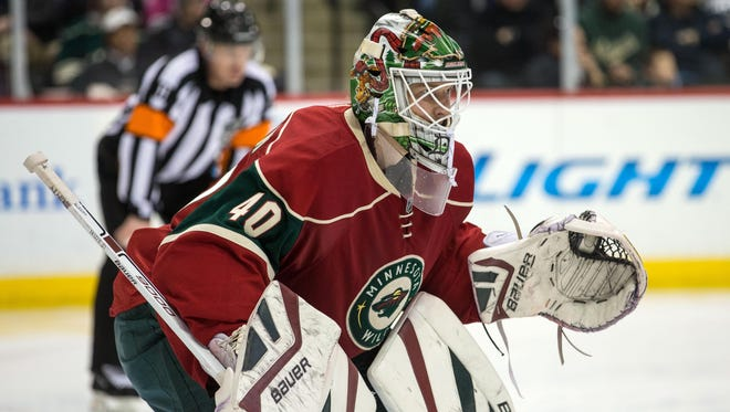 Minnesota Wild goalie Devan Dubnyk (40) looks on during the third period against the Florida Panthers at Xcel Energy Center in St. Paul, Minn. on Feb. 12. The Wild defeated the Panthers 2-1.