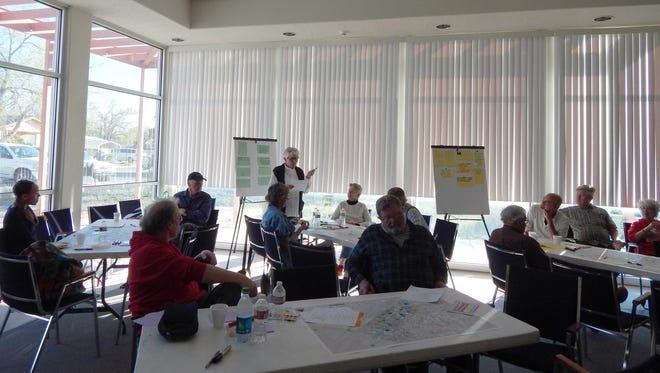 Diane Dean shares ideas with group during the Carrizozo Downtown Master Plan meeting.