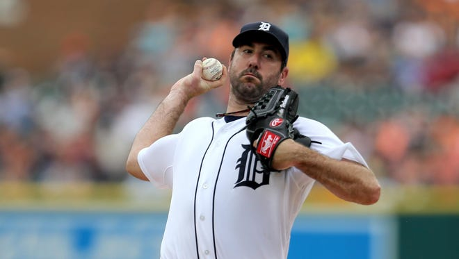 Justin Verlander of the Detroit Tigers pitches against the Baltimore Orioles during first inning action on Sunday, July 19, 2015, at Comerica Park in Detroit.