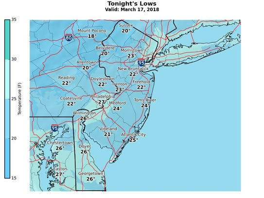 Low temperatures for the night of March 17, 2018.