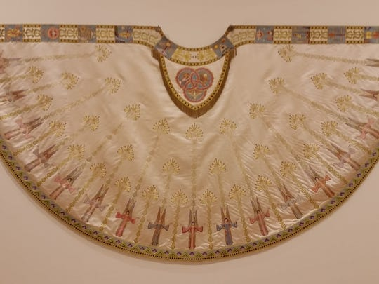 An exquisitely embroidered cope that delights the eyes of visitors to the exhibit at the Art and Heritage Place in St. Joseph.