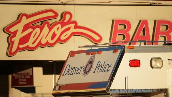 Denver police and fire officials are at the scene of an arson-homicide investigation after five bodies were found inside a bar, Wednesday, October 17, 2012, at at Fero's Bar and Grill, 351 S. Colorado Blvd. RJ Sangosti, The Denver Post