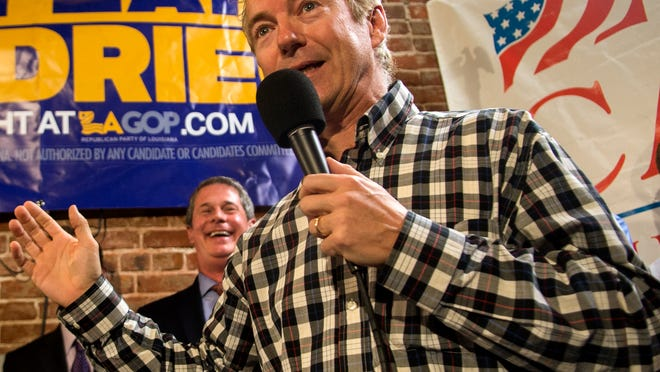 Kentucky Sen. Rand Paul speaks to Bill Cassidy supporters during a rally held for Cassidy at Huey's Bar in November in downtown Baton Rouge.