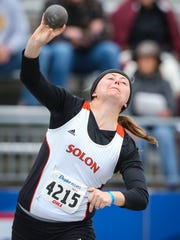 Solon's Shelby Gunnells competes in the girls shot put during the Drake Relays Friday April 24, 2015, at Drake University in Des Moines, Iowa.