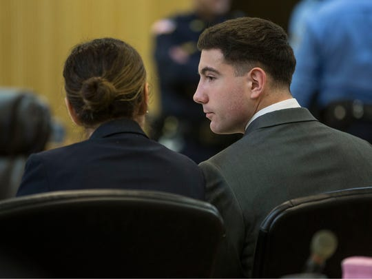 Proceedings for the trial of Raquel Garajau and Joseph Villani in the murder of Trupal Patel take place at Monmouth County Superior Court.  Villani consults with defense attorney Elyse Schindel.  Freehold, NJ Wednesday, November 29, 2017 @dhoodhood