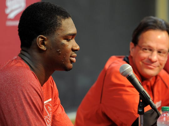 Indiana University freshman forward Noah Vonleh announces his decision to declare for the NBA draft as head coach Tom Crean smiles inside Assembly Hall, Thursday, April 3, 2014, in Bloomington.
