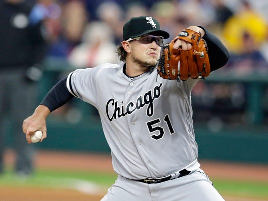 Chicago White Sox starting pitcher Carson Fulmer delivers in the first inning of a baseball game against the Cleveland Indians, Saturday, Sept. 30, 2017, in Cleveland. (AP Photo/Tony Dejak)