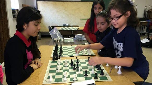 Montana Vista Elementary School students play chess