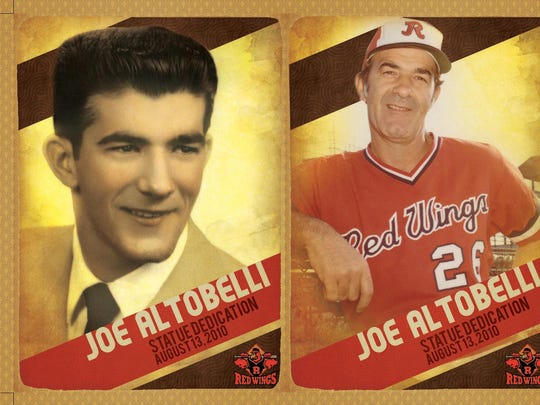 A baseball card strip featuring different stages of Joe Altobelli's baseball career.