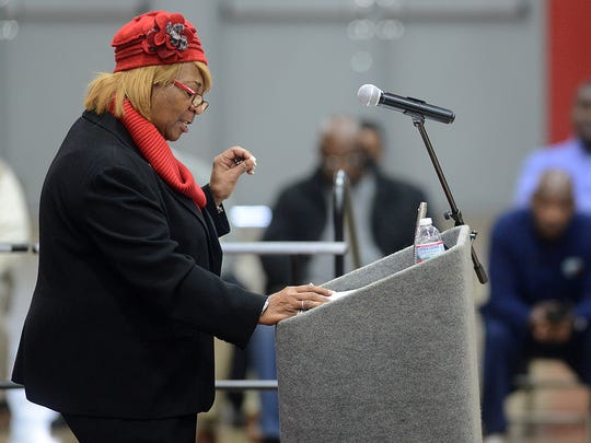 Gloria Sweet-Love, president of the Tennessee State Conference of the NAACP, speaks during Lane College's chapel assembly at the J.F. Lane Health and Physical Education Building on Wednesday morning.
