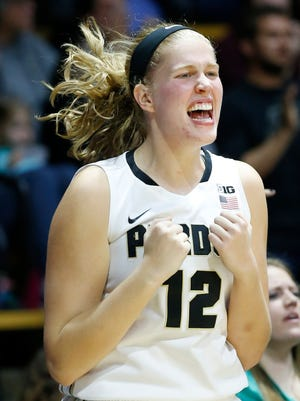 Nora Kiesler lets out a scream on the Purdue bench after the Boilermakers scored late in a 2016 victory against Central Michigan.