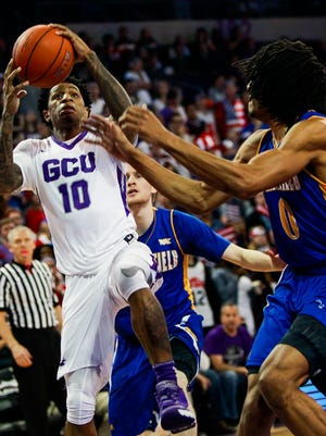 Grand Canyon University guard Dominic Magee drives to the basket against Cal State Bakersfield on Thursday, Jan. 28, 2016, at Grand Canyon University in Phoenix, Ariz. GCU won 70-64.