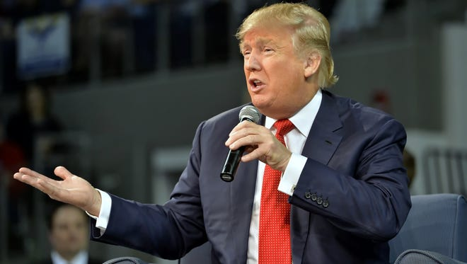 Republican presidential candidate Donald Trump speaks at a town hall meeting in the Convocation Center on the University of South Carolina Aiken campus Saturday, Dec. 12, 2015, in Aiken, S.C.