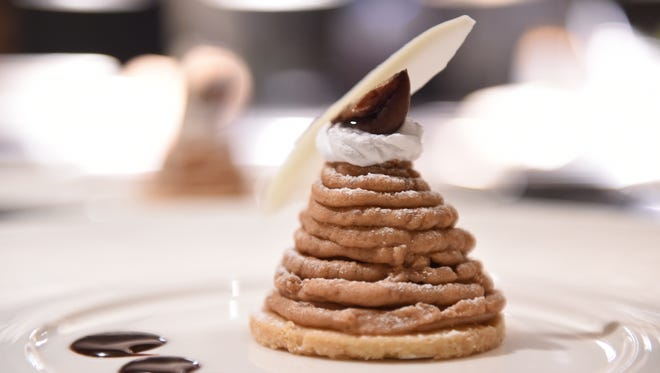 A mont Blanc with chestnut paste and whipped cream makes a sweet finish to Tour of Italy: Piedmont, at Al Dente in the Hyatt on Jan. 07.