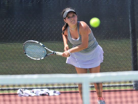 Wylie's Analeah Elias follows her shot during the USTA Texas Slam at Craig Middle School on Monday. Elias won 6-4, 6-3 to advance in the Girls' 18 consolation bracket.