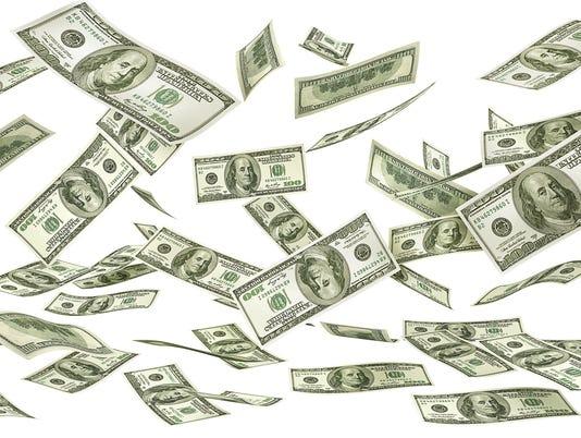 Falling money on a white background. Dollars rain. 3d illustration