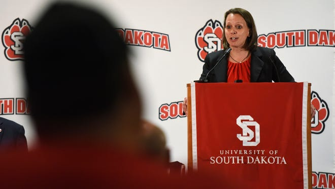 Dawn Plitzuweit speaks Monday after being announced as the next head coach of the USD women's basketball team during a press conference at the Muenster University Center at USD, April 25, 2016.