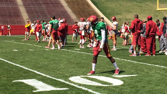 Iowa State receiver Quenton Bundrage during pre-game practice.