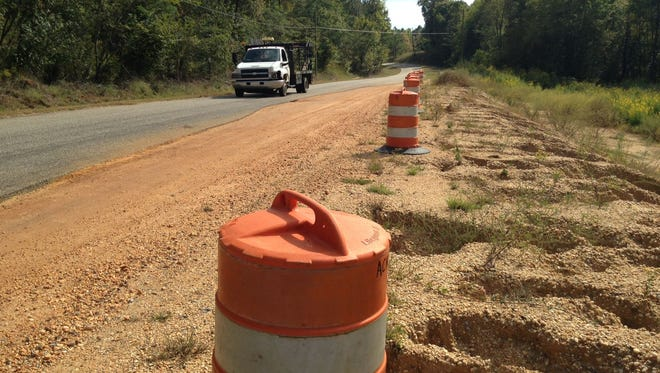 File photo shows Golson Road in October. Golson Road, also known as County Road 47, connects Ala. Highway 14 and U.S. Highway 82. It gives access to Autauga Academy and several subdivisions. The construction zone is about two miles east of the Highway 14 intersection. Crews have opened about a 100 yard long section in an attempt to stabilize the road bed.
