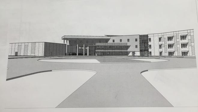 This rendering shows the design for the new high school that will be built in Youngsville in southern Lafayette Parish.
