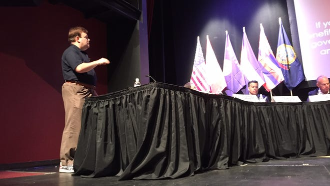 Pollster Frank Luntz speaks during the Western Governors' Association meeting Tuesday.