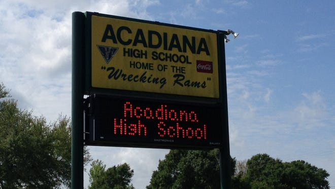 The Acadiana High School sign is pictured on April 2, 2015.