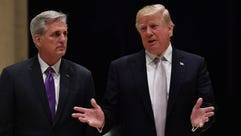 President Trump speaks beside House Majority Leader