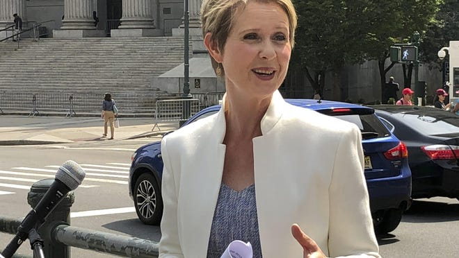 New York gubernatorial hopeful Cynthia Nixon speaks in front of a federal court in the Manhattan borough of New York on July 13.