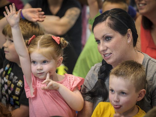 The program kept the kids and parents, including Avery, Amanda Grimes and Brady, involved and entertained.