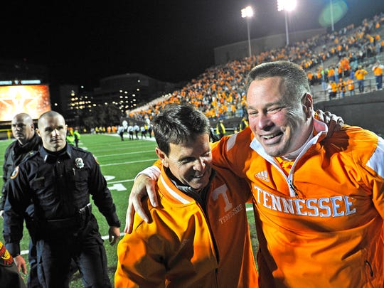 Butch Jones, right, and UT athletics director Dave