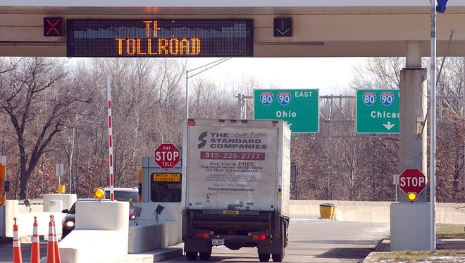 A truck enters the Indiana Toll Road.