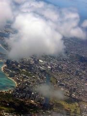 Aerial shot of Ohau, Hawaii.